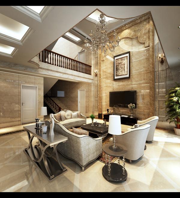 客厅与餐厅之间,安装石材柱子,使得空间既分且合,彰显大气,富有情趣。新颖别致,效果华美。吊顶的设计采用多层板材雕花,加深空间的层次,米色大理石的地面以少许深色小块作为点缀。卧室的整体感觉端庄优雅,仿佛将人带入十八世纪保守意大利贵族的舞会中,欧式风格也是最能体现身份地位的一种风格。