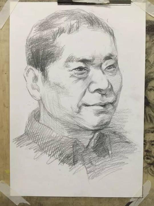 素描考题:男中老年头像(提供线稿照片)2.5个小时.