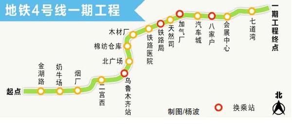 信息显示:地 铁4号线一期工程线路全长19.7公里,均为地下线,计划共设车站16座,平均站间距1.25公里,最大站间距1.95公里,最小站间距806米。设车辆 段(奶牛场车辆段)、停车场(七道湾停车场)各一座,设主变电站两座,分别位于高铁站(乌鲁木齐站,与2号线合建)附近和八家户站(与7号线合建)附近, 全线网设一处控制中心。   地铁4号线一期环评工作,是由乌鲁木齐城市轨道集团有限公司特委托中煤科工集团重庆设计研究院有限公司承担,如果您家就在地铁沿线,担心地铁会影响生活,或是在环境保护方面有何建议